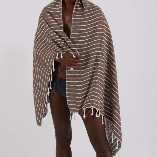 Bamboo Hammam Towel, Brown