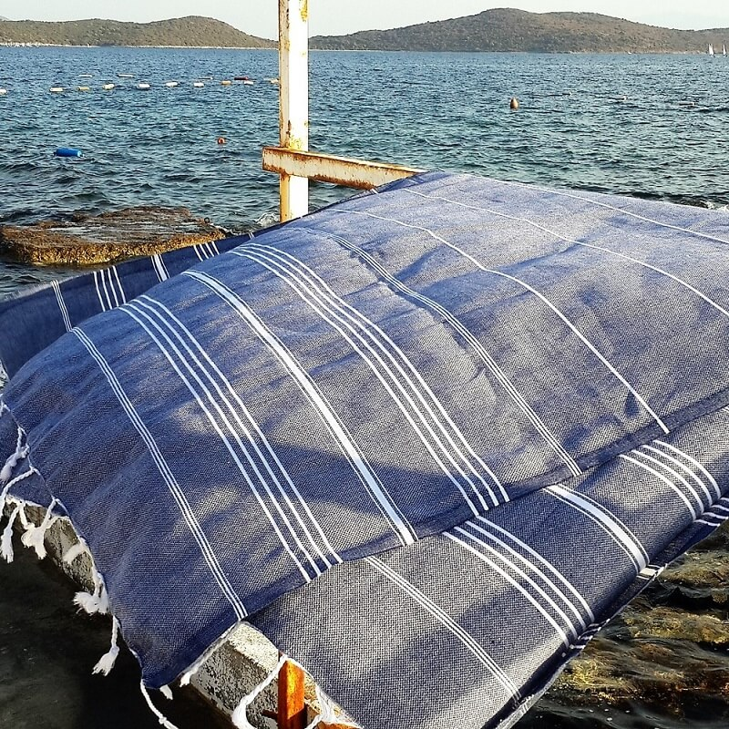 Cotton Hammam Towel, Denim
