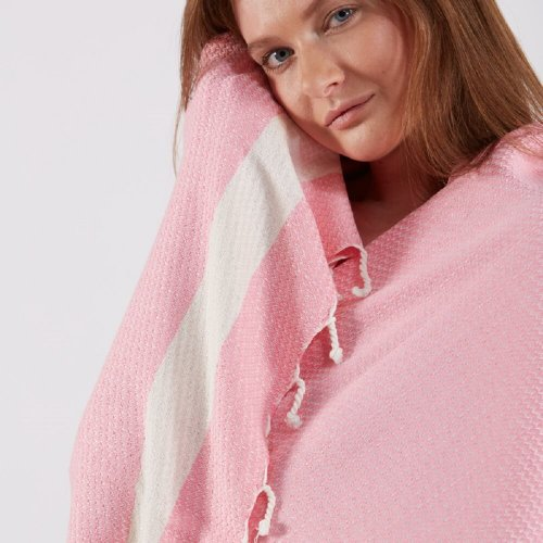 bamboo hammam towel, hot pink