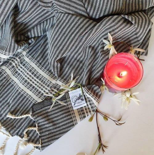 Cotton Hammam Towel, Black