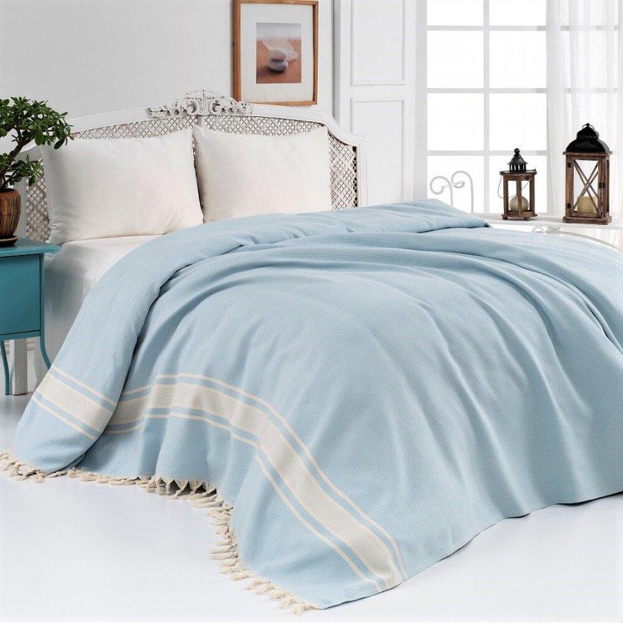 Cotton Bedspread, Aqua