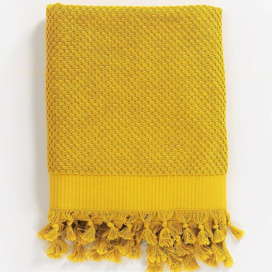 Turkish Cotton Bath Towel. Yellow