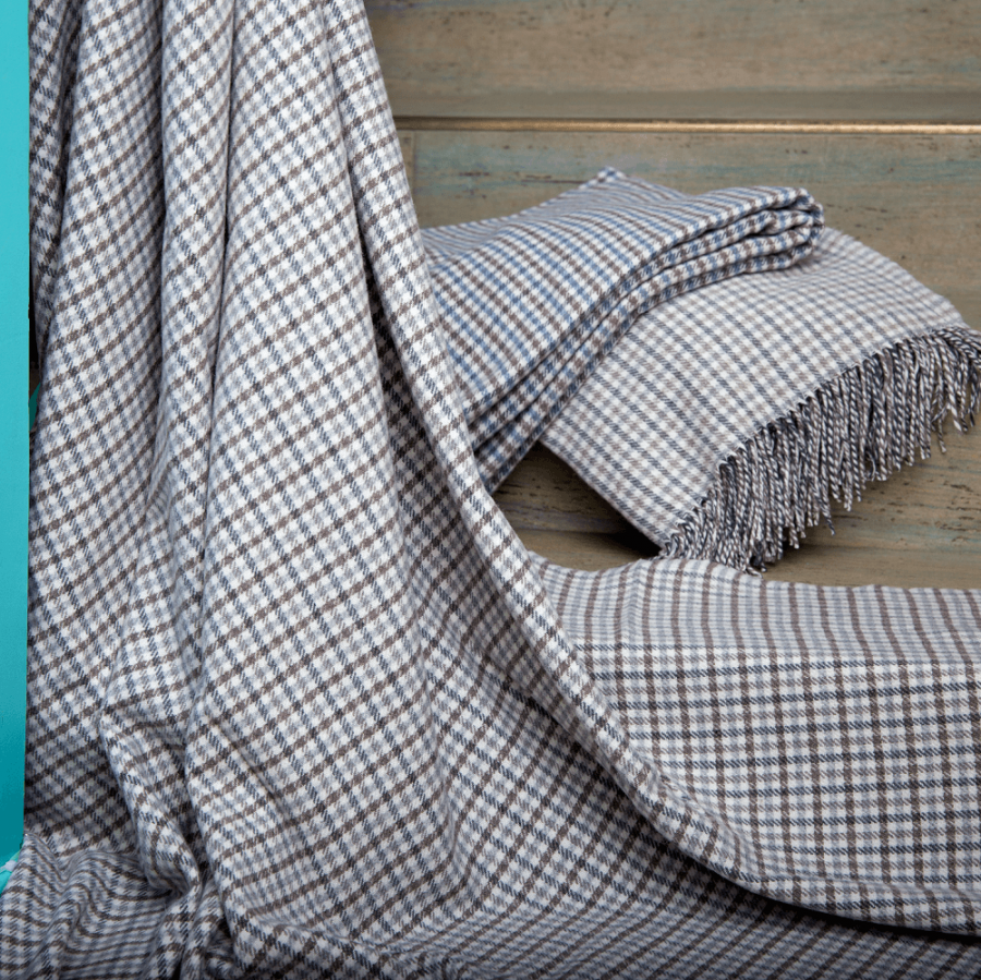 Hygge Cashmere Check Throw, Beige-Oat-Brown