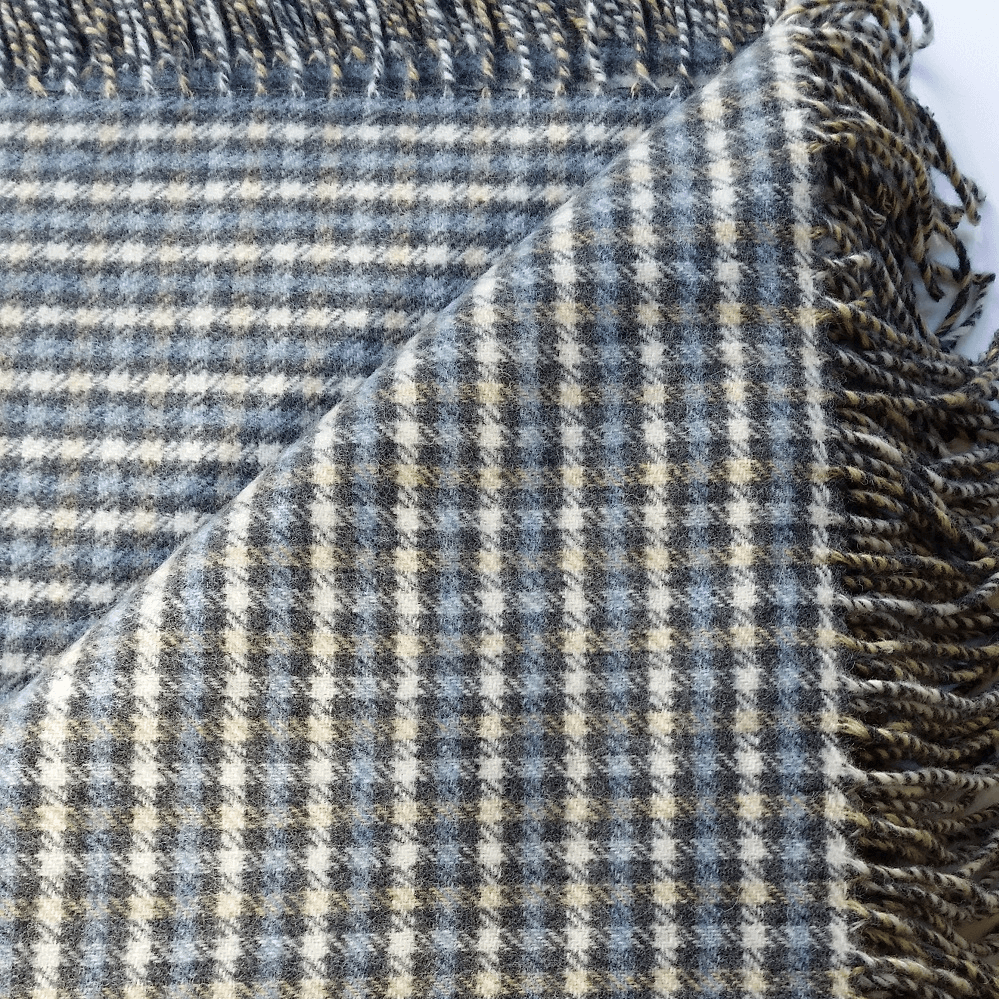 Hygge Cashmere Check Throw, Creme-Charcoal-AirForce Blue