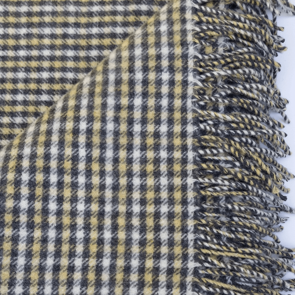 Hygge Cashmere Check Throw, Beige-Mellow Yellow-Espresso