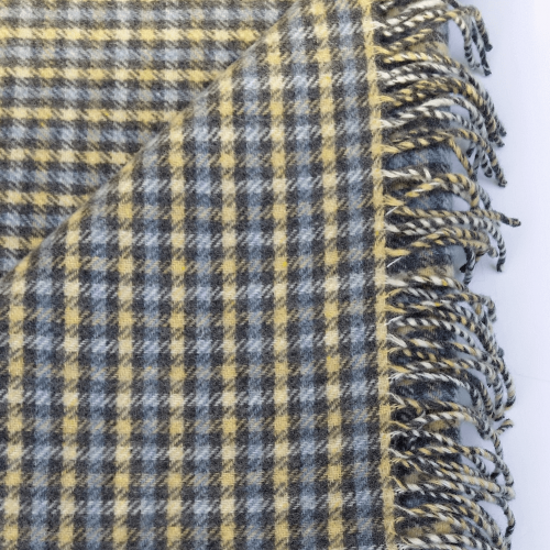 Hygge Cashmere Check Throw,Oat-AirForce Blue-Charcoal