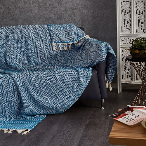 Cotton Throw, Blue