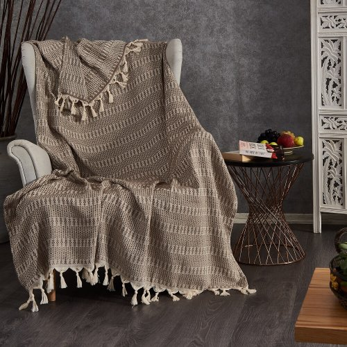 Cotton Throw, Taupe