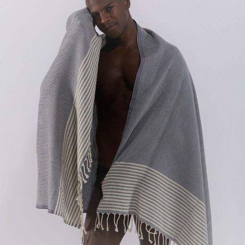 Cotton Hammam Towel, Navy