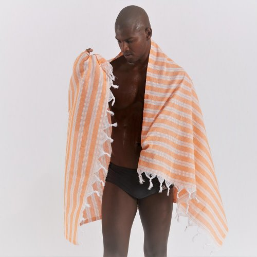 Cotton Hammam Beach Towel, Coral