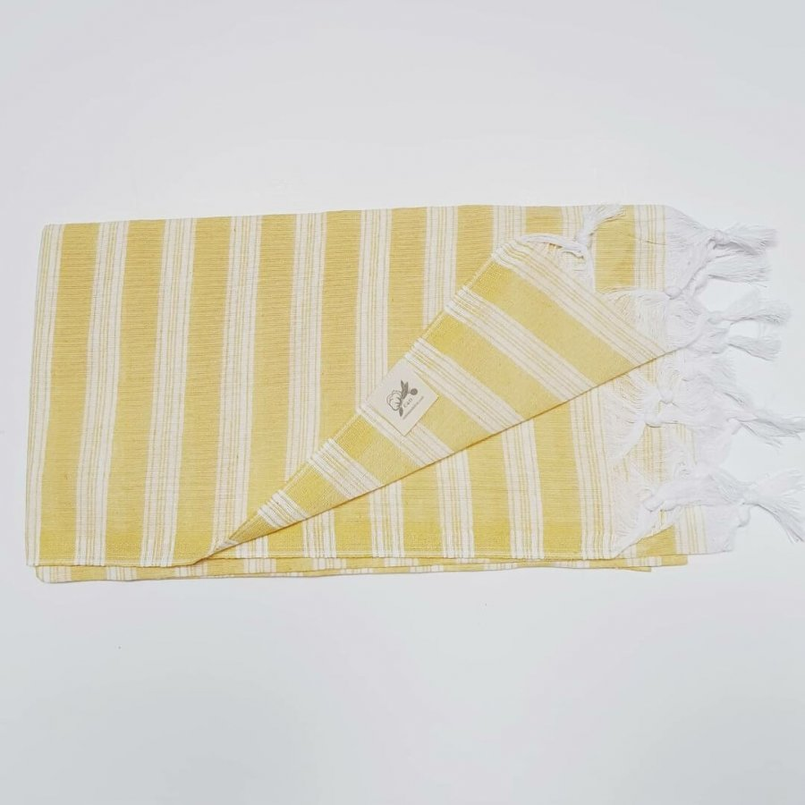 Lightweight cotton hammam towel - yellow