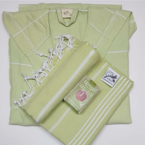 Bathrobe, Hammam Towel, Hammam Hand Towel and Soap Bundle