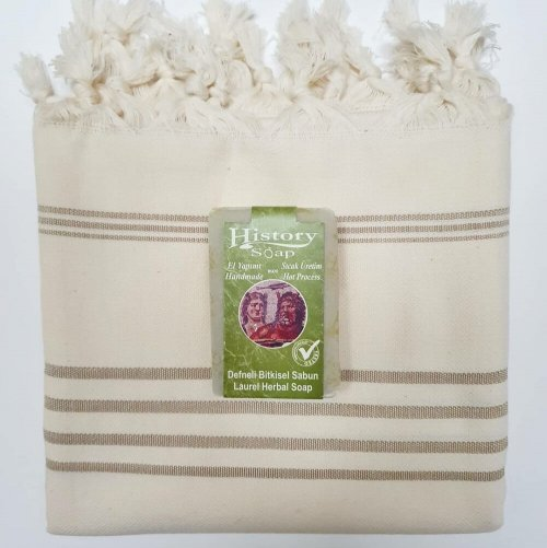 Cotton Hammam Towel with Soap Bar